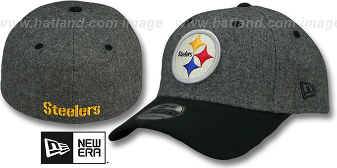 Steelers 'MELTOP FLEX' Grey-Black Hat by New Era : pictured without stickers that these products are shipped with