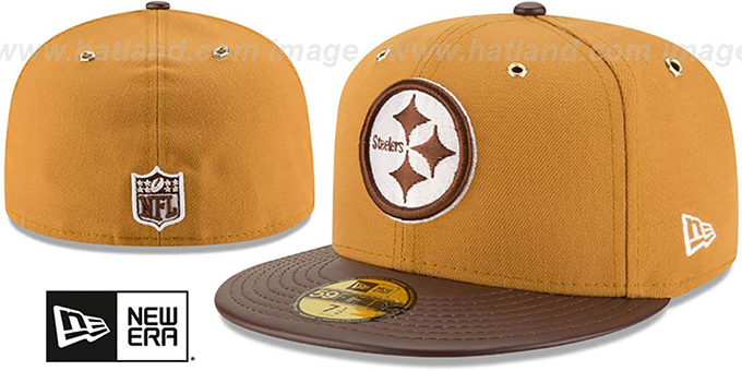 Steelers 'METAL HOOK' Wheat-Brown Fitted Hat by New Era : pictured without stickers that these products are shipped with