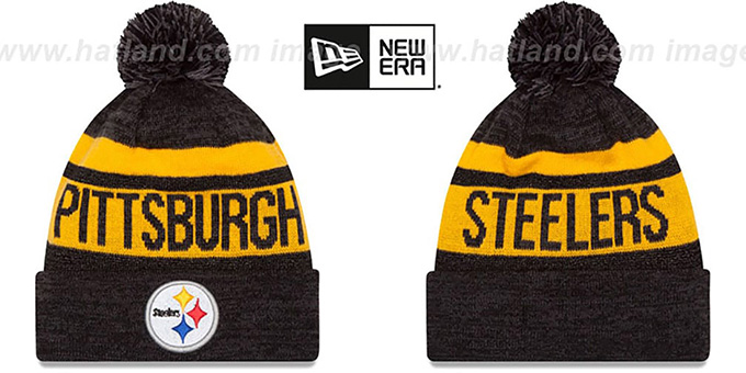 Steelers 'METALLIC STRIPE' Black-Gold Knit Beanie Hat by New Era : pictured without stickers that these products are shipped with