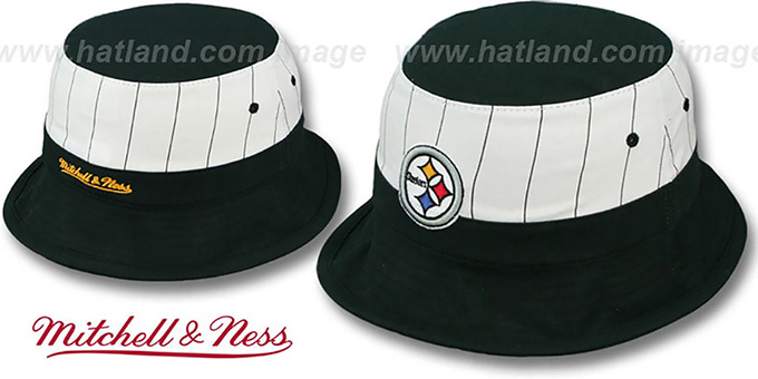 Steelers 'MID-PINSTRIPE BUCKET' Black-White Hat by Mitchell and Ness : pictured without stickers that these products are shipped with