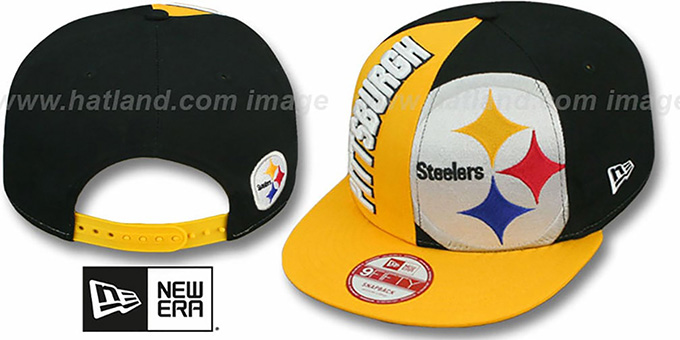 Steelers 'NE-NC DOUBLE COVERAGE SNAPBACK' Hat by New Era : pictured without stickers that these products are shipped with