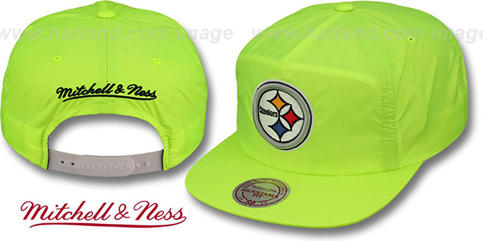 Steelers 'NEON CAMPER SNAPBACK' Lime Hat by Mitchell & Ness : pictured without stickers that these products are shipped with