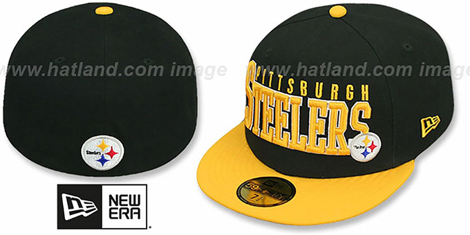 Steelers 'NFL 2T CHOP-BLOCK' Black-Gold Fitted Hat by New Era : pictured without stickers that these products are shipped with