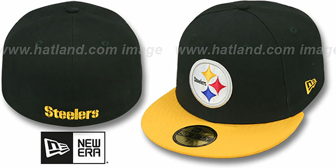Steelers 'NFL 2T-TEAM-BASIC' Black-Gold Fitted Hat by New Era : pictured without stickers that these products are shipped with