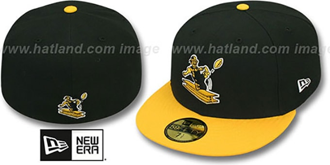 Steelers 'NFL 2T THROWBACK TEAM-BASIC' Black-Gold Fitted Hat by New Era : pictured without stickers that these products are shipped with