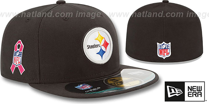 Steelers 'NFL BCA' Black Fitted Hat by New Era : pictured without stickers that these products are shipped with