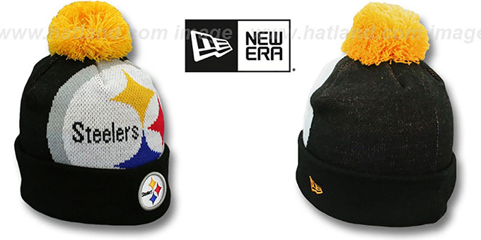 Steelers 'NFL-BIGGIE' Black Knit Beanie Hat by New Era : pictured without stickers that these products are shipped with