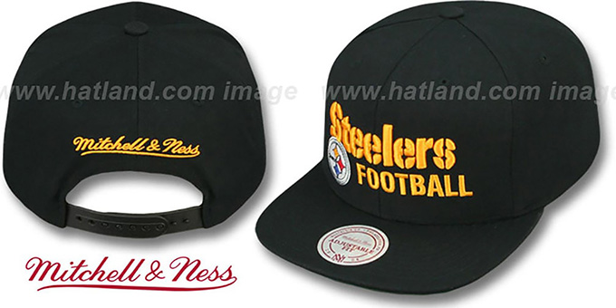 Steelers 'NFL-BLOCKER SNAPBACK' Black Hat by Mitchell & Ness : pictured without stickers that these products are shipped with