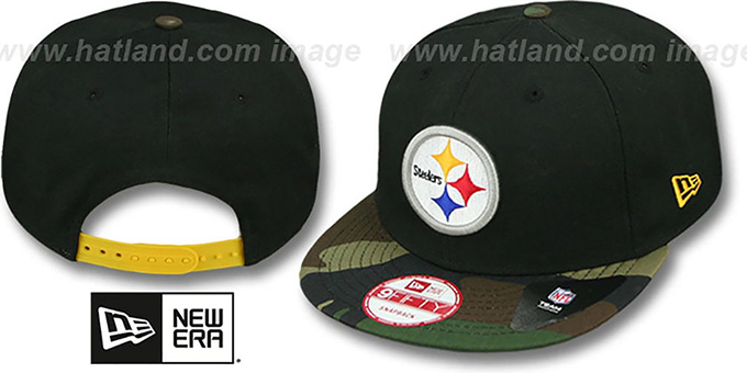 Steelers 'NFL CAMO-BRIM SNAPBACK' Adjustable Hat by New Era : pictured without stickers that these products are shipped with