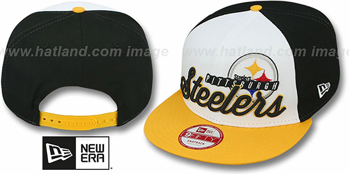 Steelers 'NFL CHRIOGRAPH SNAPBACK' White-Black-Gold Hat by New Era : pictured without stickers that these products are shipped with
