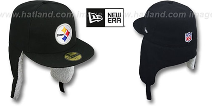 Steelers 'NFL-DOGEAR' Black Fitted Hat by New Era : pictured without stickers that these products are shipped with