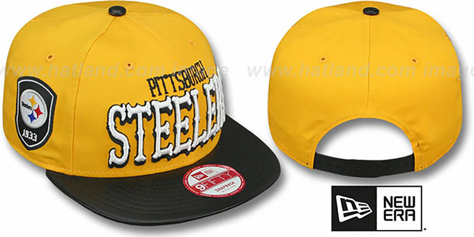 Steelers 'NFL ENGLISH-WORD SNAPBACK' Gold-Black Hat by New Era : pictured without stickers that these products are shipped with