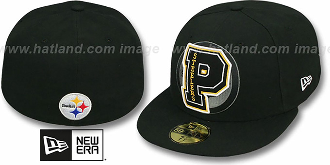 Steelers 'NFL FELTN' Black Fitted Hat by New Era : pictured without stickers that these products are shipped with