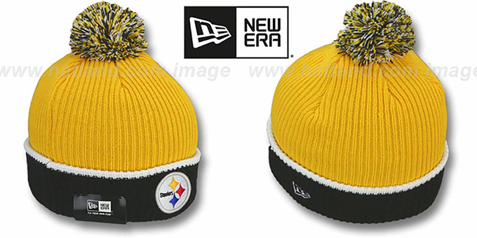 Steelers 'NFL FIRESIDE' Gold-Black Knit Beanie Hat by New Era : pictured without stickers that these products are shipped with
