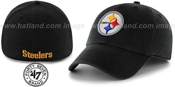 Steelers 'NFL FRANCHISE' Black Hat by 47 Brand : pictured without stickers that these products are shipped with