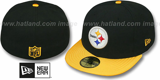 Steelers 'NFL JERSEY-BASIC' Black-Gold Fitted Hat by New Era : pictured without stickers that these products are shipped with