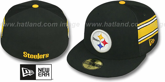 Steelers 'NFL JERSEY-STRIPE' Black Fitted Hat by New Era : pictured without stickers that these products are shipped with