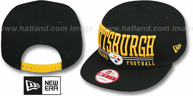 Steelers 'NFL LATERAL SNAPBACK' Black Hat by New Era : pictured without stickers that these products are shipped with