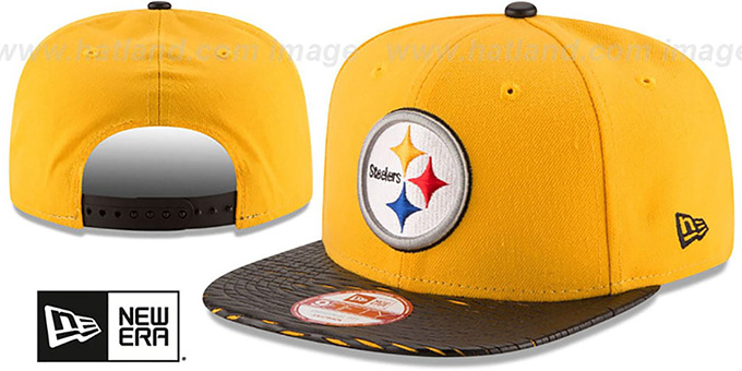 Steelers 'NFL LEATHER-RIP SNAPBACK' Gold-Black Hat by New Era : pictured without stickers that these products are shipped with