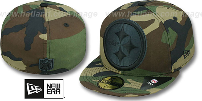 Steelers NFL 'MIGHTY-XL' Army Camo Fitted Hat by New Era : pictured without stickers that these products are shipped with