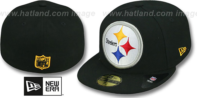 Steelers NFL 'MIGHTY-XL' Black Fitted Hat by New Era : pictured without stickers that these products are shipped with