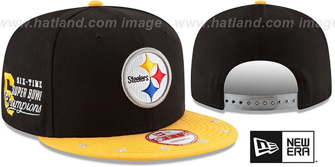 Steelers 'NFL STAR-TRIM SNAPBACK' Black-Gold Hat by New Era : pictured without stickers that these products are shipped with