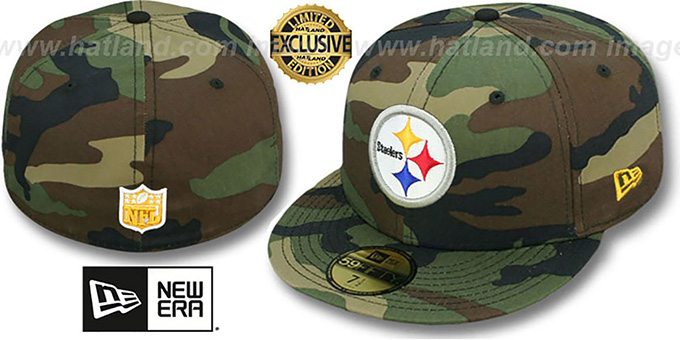 4d6bfe3e Pittsburgh Steelers NFL TEAM-BASIC Army Camo Fitted Hat by New Era