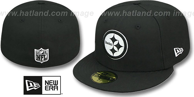 Steelers 'NFL TEAM-BASIC' Black-White Fitted Hat by New Era : pictured without stickers that these products are shipped with