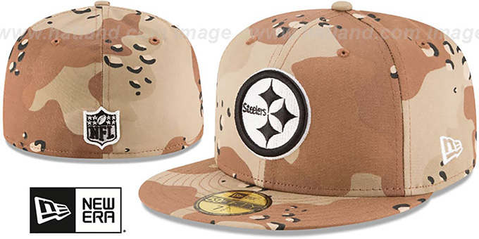 Steelers 'NFL TEAM-BASIC' Desert Storm Camo Fitted Hat by New Era : pictured without stickers that these products are shipped with