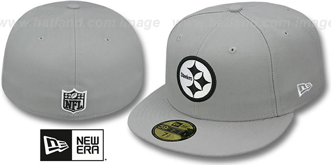 Steelers 'NFL TEAM-BASIC' Grey-Black-White Fitted Hat by New Era : pictured without stickers that these products are shipped with