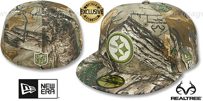 Steelers 'NFL TEAM-BASIC' Realtree Camo Fitted Hat by New Era : pictured without stickers that these products are shipped with