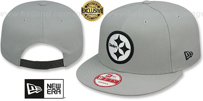 Steelers 'NFL TEAM-BASIC SNAPBACK' Grey-Black Hat by New Era : pictured without stickers that these products are shipped with