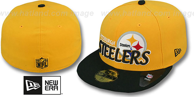 Steelers 'NFL-TIGHT' Gold-Black Fitted Hat by New Era : pictured without stickers that these products are shipped with