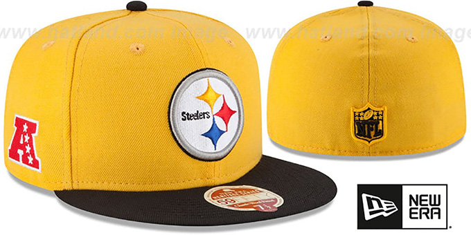 Steelers 'NFL WOOL-STANDARD' Gold-Black Fitted Hat by New Era : pictured without stickers that these products are shipped with