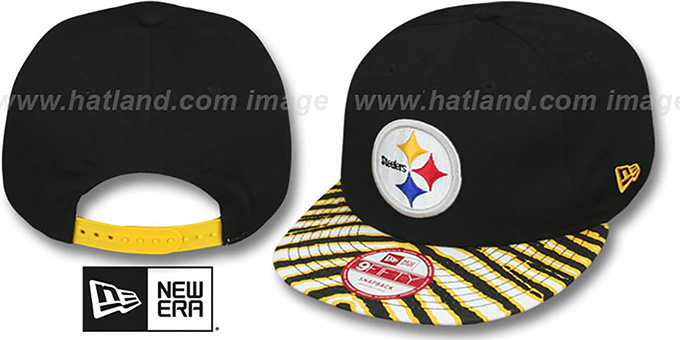 Steelers 'NFL ZUBAZ SNAPBACK' Black Hat by New Era : pictured without stickers that these products are shipped with