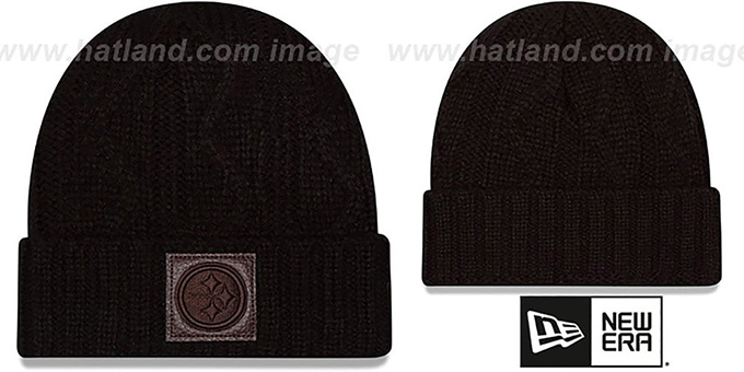 Steelers 'OHANA' Black Knit Beanie Hat by New Era : pictured without stickers that these products are shipped with