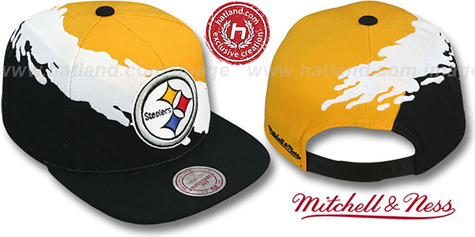 Steelers 'PAINTBRUSH SNAPBACK' Gold-White-Black Hat by Mitchell & Ness : pictured without stickers that these products are shipped with