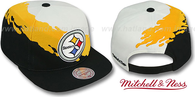 Steelers 'PAINTBRUSH SNAPBACK' White-Gold-Black Hat by Mitchell & Ness : pictured without stickers that these products are shipped with