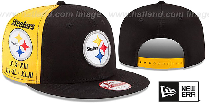 Steelers 'PANEL PRIDE SNAPBACK' Hat by New Era : pictured without stickers that these products are shipped with