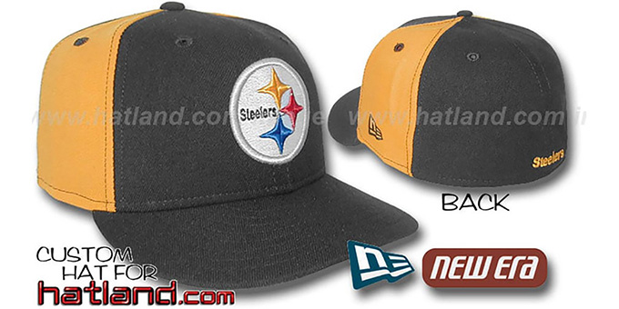 Steelers 'PINWHEEL-2' Black-Gold Fitted Hat : pictured without stickers that these products are shipped with