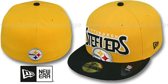 Steelers 'PROFILIN' Gold-Black Fitted Hat by New Era : pictured without stickers that these products are shipped with
