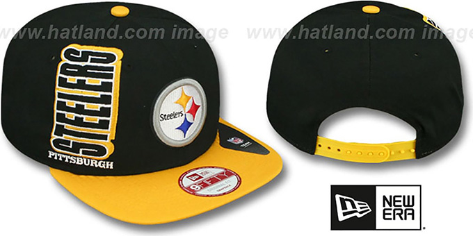 Steelers 'RALLYMARK SNAPBACK' Black-Gold Hat by New Era : pictured without stickers that these products are shipped with
