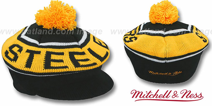 Steelers 'RERUN KNIT BEANIE' by Mitchell and Ness : pictured without stickers that these products are shipped with