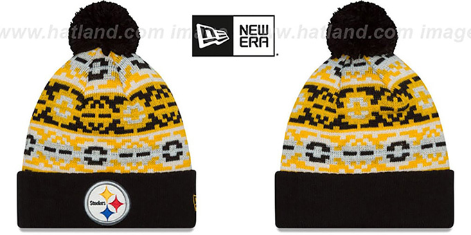 Steelers 'RETRO CHILL' Knit Beanie Hat by New Era : pictured without stickers that these products are shipped with