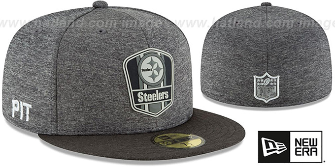 Steelers  ROAD ONFIELD STADIUM  Charcoal-Black Fitted Hat by New Era 3a21a090821b