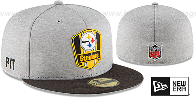 online store 2994f 0993d Steelers  ROAD ONFIELD STADIUM  Grey-Black Fitted Hat by ...