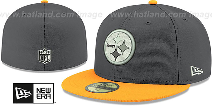 Steelers 'SHADER MELT-2' Grey-Gold Fitted Hat by New Era : pictured without stickers that these products are shipped with