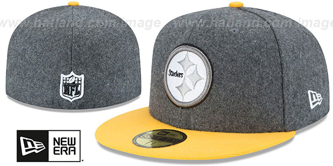 Steelers 'SHADER MELTON' Grey-Gold Fitted Hat by New Era : pictured without stickers that these products are shipped with