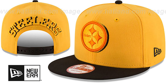 Steelers 'SHADOW SLICE SNAPBACK' Gold-Black Hat by New Era : pictured without stickers that these products are shipped with