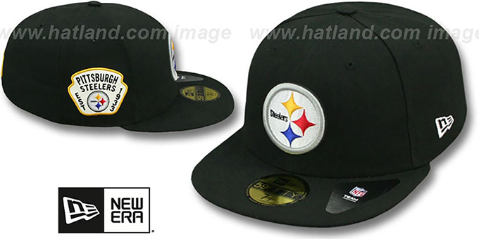 Steelers 'SIDE TEAM-PATCH' Black Fitted Hat by New Era : pictured without stickers that these products are shipped with